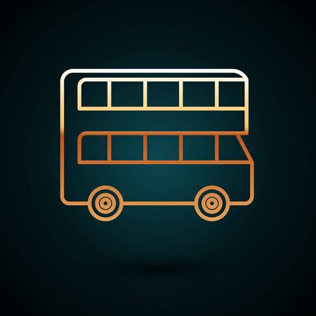 Gold line Double decker bus icon isolated on dark blue background.  Public transportation symbol. Vector Illustration Stock Illustratie