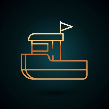 Gold line Fishing boat icon isolated on dark blue background. Vector Illustration