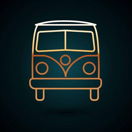 Gold line Retro minivan icon isolated on dark blue background. Old retro classic traveling van. Vector Illustration