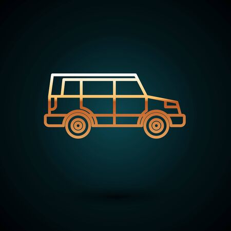 Gold line Off road car icon isolated on dark blue background. Vector Illustration