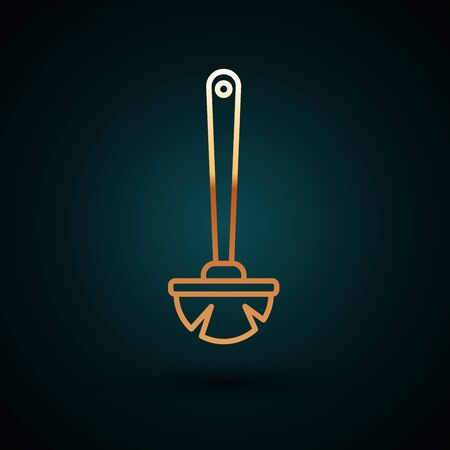 Gold line Toilet brush icon isolated on dark blue background. Vector Illustration Иллюстрация