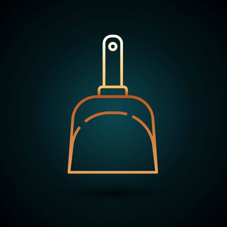 Gold line Dustpan icon isolated on dark blue background. Cleaning scoop services. Vector Illustration