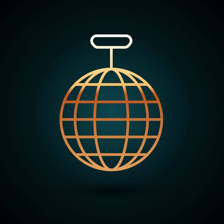 Gold line Disco ball icon isolated on dark blue background. Vector Illustration