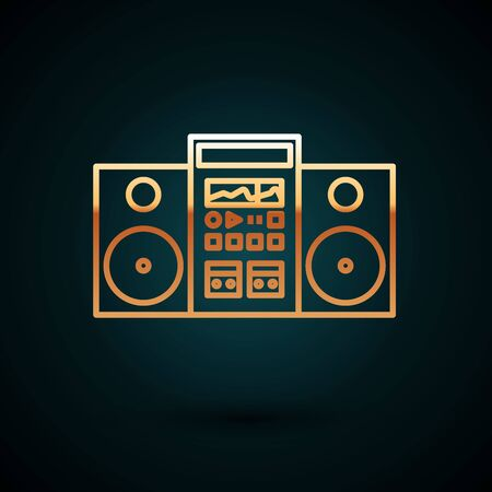 Gold line Home stereo with two speakers icon isolated on dark blue background. Music system. Vector Illustration Иллюстрация