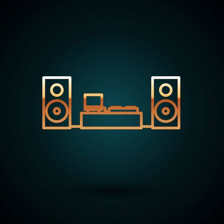 Gold line Home stereo with two speaker s icon isolated on dark blue background. Music system. Vector Illustration
