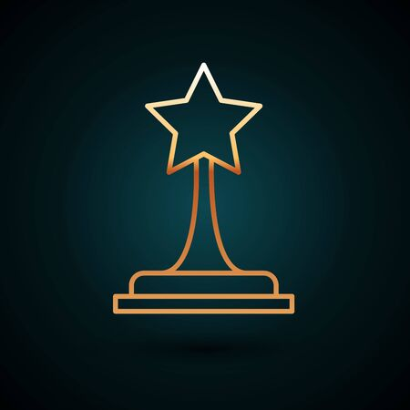 Gold line Movie trophy icon isolated on dark blue background. Academy award icon. Films and cinema symbol. Vector Illustration