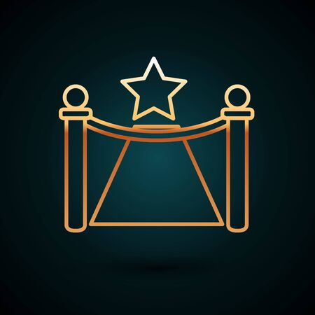 Gold line Carpet with barriers and star icon isolated on dark blue background. VIP event, luxury celebration. Celebrity party entrance. Vector Illustration