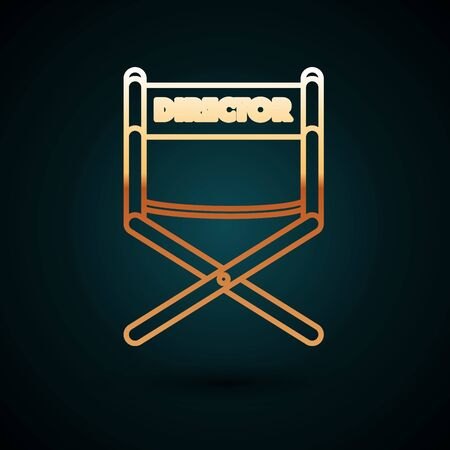 Gold line Director movie chair icon isolated on dark blue background. Film industry. Vector Illustration