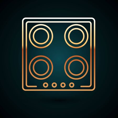 Gold line Gas stove icon isolated on dark blue background. Cooktop sign. Hob with four circle burners. Vector Illustration