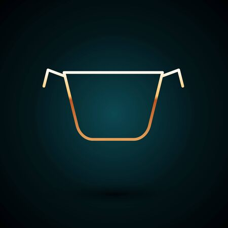 Gold line Cooking pot icon isolated on dark blue background. Boil or stew food symbol. Vector Illustration