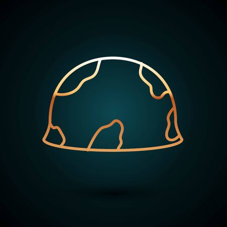 Gold line Military helmet icon isolated on dark blue background. Army hat symbol of defense and protect. Protective hat. Vector Illustration Ilustração