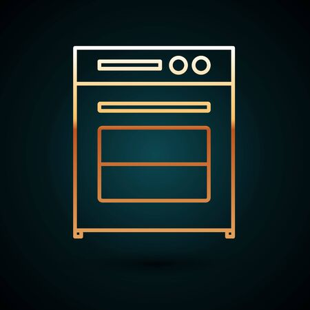 Gold line Oven icon isolated on dark blue background. Stove gas oven sign. Vector Illustration