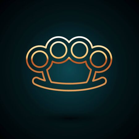 Gold line Brass knuckles icon isolated on dark blue background. Vector Illustration
