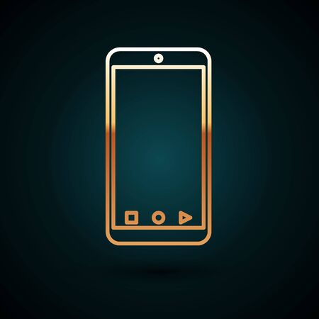 Gold line Mobile smart phone with app delivery tracking icon isolated on dark blue background. Parcel tracking. Vector Illustration