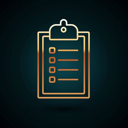 Gold line Verification of delivery list clipboard icon isolated on dark blue background. Vector Illustration