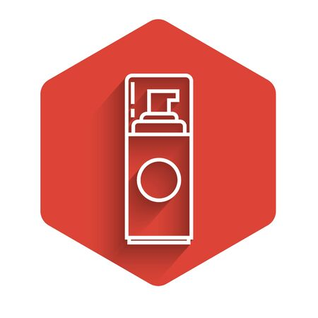 White line Shaving gel foam icon isolated with long shadow. Shaving cream. Red hexagon button. Vector Illustration