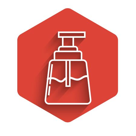 White line Aftershave icon isolated with long shadow. Cologne spray icon. Male perfume bottle. Red hexagon button. Vector Illustration