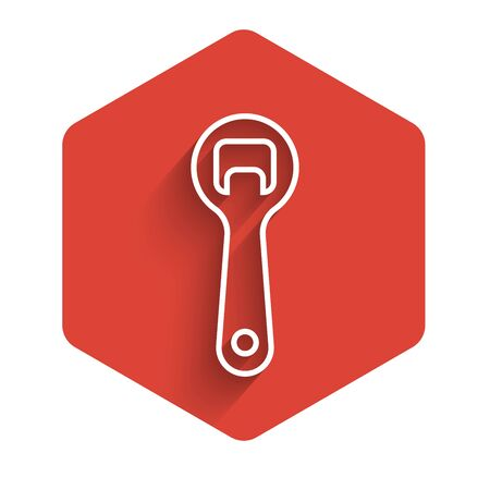 White line Bottle opener icon isolated with long shadow. Red hexagon button. Vector Illustration