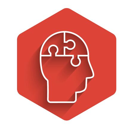 White line Human head puzzles strategy icon isolated with long shadow. Thinking brain sign. Symbol work of brain. Red hexagon button. Vector Illustration