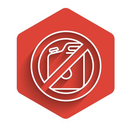 White line No canister for gasoline icon isolated with long shadow. Diesel gas icon. Red hexagon button. Vector Illustration