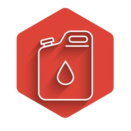 White line Canister for gasoline icon isolated with long shadow. Diesel gas icon. Red hexagon button. Vector Illustration Ilustracja