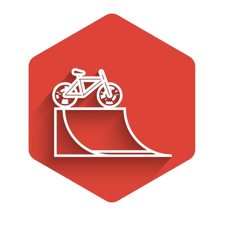 White line Bicycle on street ramp icon isolated with long shadow. Skate park. Extreme sport. Sport equipment. Red hexagon button. Vector Illustration