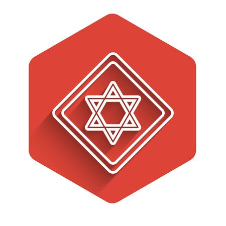 White line Star of David icon isolated with long shadow. Jewish religion symbol. Symbol of Israel. Red hexagon button. Vector Illustration Illustration