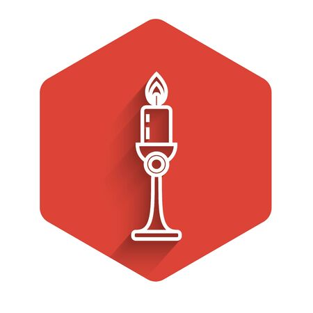 White line Burning candle in candlestick icon isolated with long shadow. Old fashioned lit candle. Cylindrical candle stick with burning flame. Red hexagon button. Vector Illustration Illustration