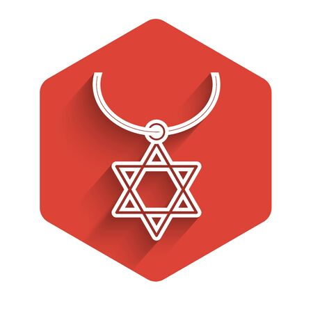 White line Star of David necklace on chain icon isolated with long shadow. Jewish religion symbol. Symbol of Israel. Jewellery and accessory. Red hexagon button. Vector Illustration