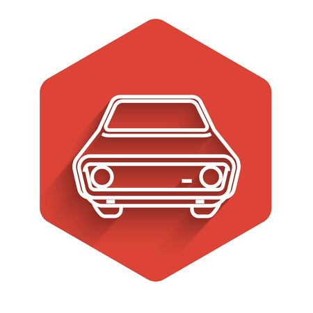 White line Car icon isolated with long shadow. Front view. Red hexagon button. Vector Illustration