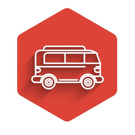 White line Retro minivan icon isolated with long shadow. Old retro classic traveling van. Red hexagon button. Vector Illustration Illustration