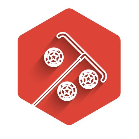 White line Stick for chips icon isolated with long shadow. Casino gambling. Red hexagon button. Vector Illustration