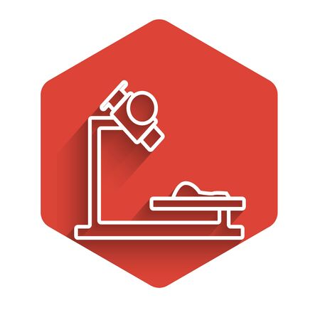White line Microscope icon isolated with long shadow. Chemistry, pharmaceutical instrument, microbiology magnifying tool. Red hexagon button. Vector Illustration