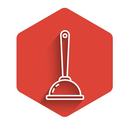 White line Rubber plunger with wooden handle for pipe cleaning icon isolated with long shadow. Toilet plunger. Red hexagon button. Vector Illustration
