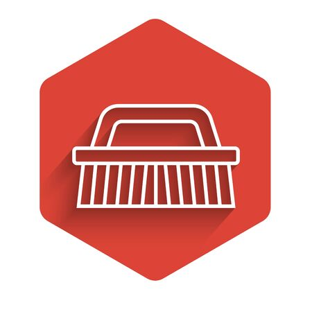 White line Brush for cleaning icon isolated with long shadow. Red hexagon button. Vector Illustration Ilustração