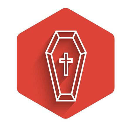 White line Coffin with christian cross icon isolated with long shadow. Happy Halloween party. Red hexagon button. Vector Illustration