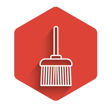 White line Handle broom icon isolated with long shadow. Cleaning service concept. Red hexagon button. Vector Illustration