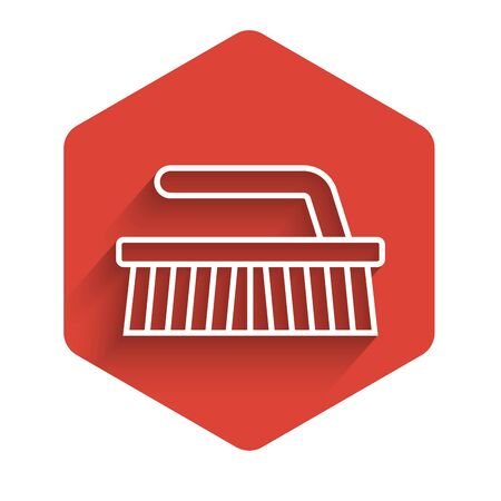 White line Brush for cleaning icon isolated with long shadow. Red hexagon button. Vector Illustration Иллюстрация