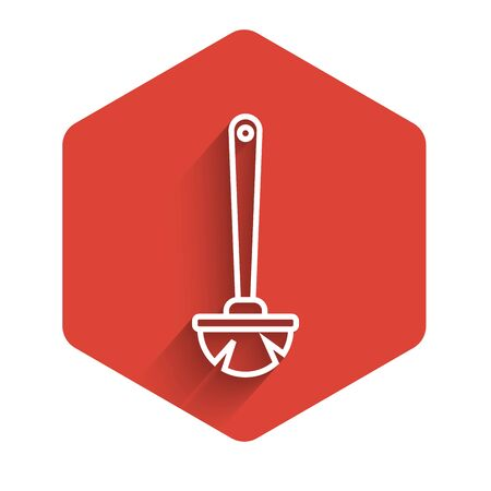 White line Toilet brush icon isolated with long shadow. Red hexagon button. Vector Illustration Иллюстрация