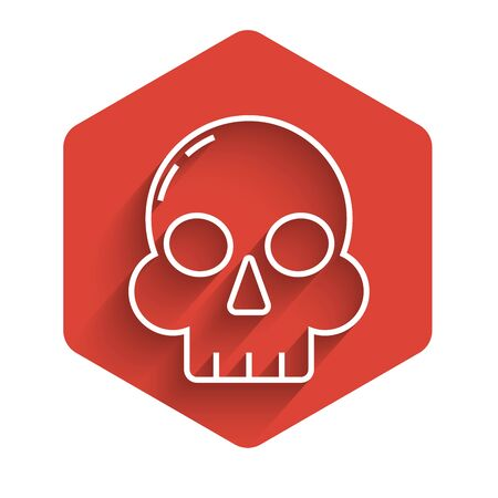 White line Skull icon isolated with long shadow. Happy Halloween party. Red hexagon button. Vector Illustration 向量圖像