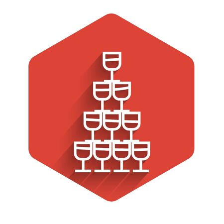 White line Wine glasses stacked in a pyramid tower icon isolated with long shadow. Wineglass sign. Red hexagon button. Vector Illustration