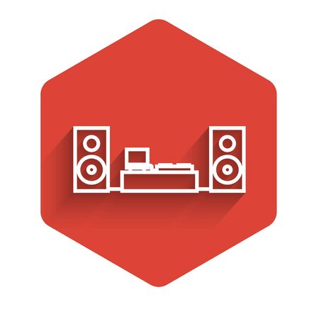 White line Home stereo with two speaker s icon isolated with long shadow. Music system. Red hexagon button. Vector Illustration