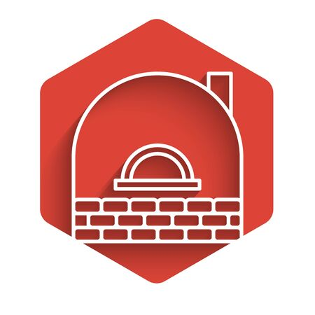 White line Brick stove icon isolated with long shadow. Brick fireplace, masonry stove, stone oven icon.Red hexagon button. Vector Illustration Vettoriali