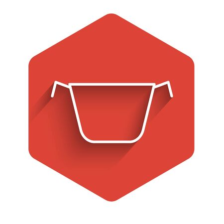 White line Cooking pot icon isolated with long shadow. Boil or stew food symbol. Red hexagon button. Vector Illustration Иллюстрация