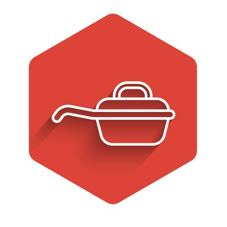 White line Frying pan icon isolated with long shadow. Fry or roast food symbol. Red hexagon button. Vector Illustration 일러스트