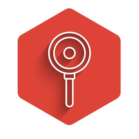 White line Frying pan icon isolated with long shadow. Fry or roast food symbol. Red hexagon button. Vector Illustration