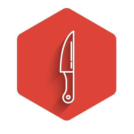 White line Knife icon isolated with long shadow. Cutlery symbol. Red hexagon button. Vector Illustration