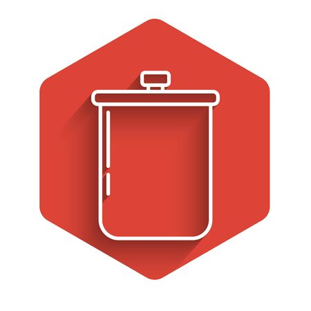 White line Cooking pot icon isolated with long shadow. Boil or stew food symbol. Red hexagon button. Vector Illustration