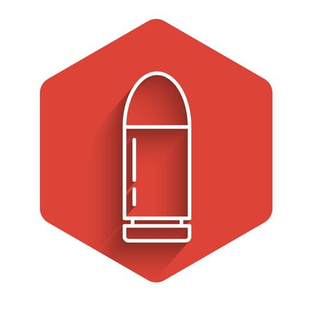 White line Bullet icon isolated with long shadow. Red hexagon button. Vector Illustration