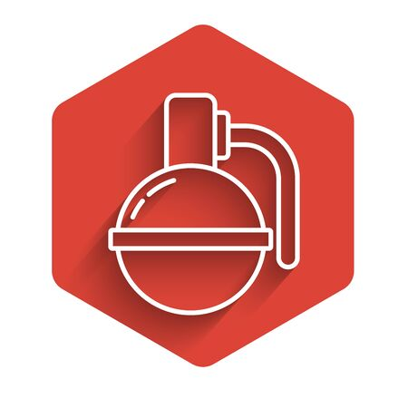 White line Hand grenade icon isolated with long shadow. Bomb explosion. Red hexagon button. Vector Illustration 向量圖像